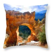 Natural Bridge Arch In Bryce Canyon National Park Throw Pillow