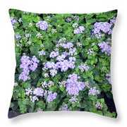 Natural Bush With Purple Small Flowers. Throw Pillow