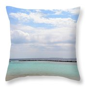 Natural Landscape With The Ocean From An Island In Maldives Throw Pillow