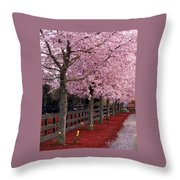 Nature - Pink Trees Throw Pillow