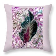 Nature Abstract Of Leaf And Grass Throw Pillow