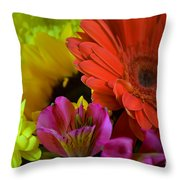 Nature Colorful Bouquet Throw Pillow