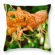 Nature Floral Orange Tiger Lily Flowers Baslee Troutman Throw Pillow