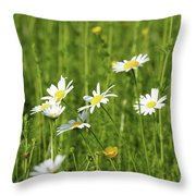 Nature Spring Scene White Wild Flowers Throw Pillow