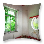 Nature Takes Over Oval Window -urbex Throw Pillow