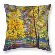 Nature Trail Turn Of Autumn Throw Pillow by Fiona Craig