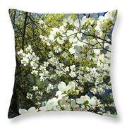 Nature Tree Landscape Art Prints White Dogwood Flowers Throw Pillow