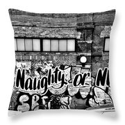Naughty Or Nice In B W Throw Pillow
