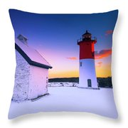 Nauset Lighthouse Sunset,  First Snow Throw Pillow
