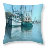Nautical Aquas At The Harbor Throw Pillow