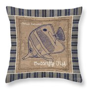Nautical Stripes Butterfly Fish Throw Pillow