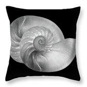 Nautilus Pair In Mono - Horizontal Throw Pillow