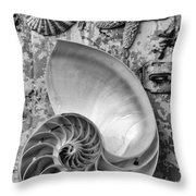 Nautilus Shell With Starfish Throw Pillow