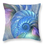 Nautilus Shells Blue And Purple Throw Pillow by Gill Billington