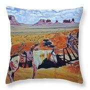 Navajo Ponies Throw Pillow