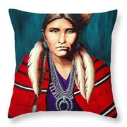 Navajo Woman In Red Throw Pillow