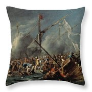 Naval Battle Between Spanish And Turks Throw Pillow