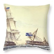 Naval Engagement Between The Uss Frigate Constitution And Hms Frigate Java Throw Pillow