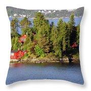 Navigating The Hjeltefjorden In Hordaland Throw Pillow