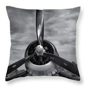 Navy Corsair Propeller Throw Pillow