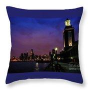 Navy Pier Sunset Throw Pillow