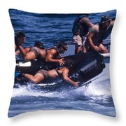 Navy Seals Practice High Speed Boat Throw Pillow by Michael Wood