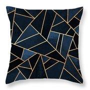 Navy Stone Throw Pillow by Elisabeth Fredriksson