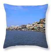 Naxos Greece Harbor Throw Pillow
