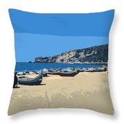 Nazara Beach 4 Throw Pillow
