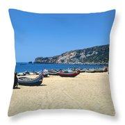 Nazara Beach Throw Pillow