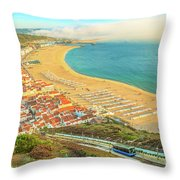 Nazare Skyline Funicular Throw Pillow