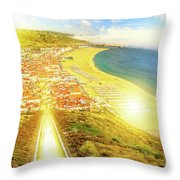 Nazare Skyline Sunset Throw Pillow