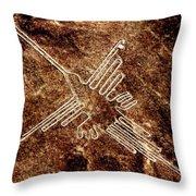 Nazca Hummingbird Throw Pillow