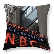 Nbc Studio Rainbow Room Sign Throw Pillow