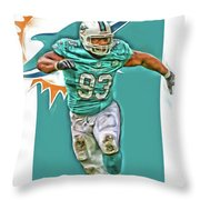 Ndamukong Suh Miami Dolphins Oil Art Throw Pillow