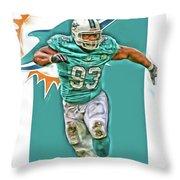 Ndamukong Suh Miami Dolphins Oil Art Throw Pillow
