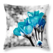 Near Bloom Blue Throw Pillow