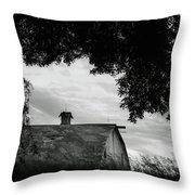 Nebraska - Barn - Black And White Throw Pillow