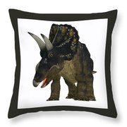 Nedoceratops On White Throw Pillow
