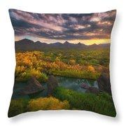 Needle Rock Sunrise Throw Pillow