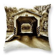 Neff's Mill Covered Bridge - Lancaster County Pa. Throw Pillow