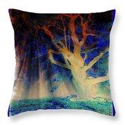 Negative Tree And Sunbeams Throw Pillow