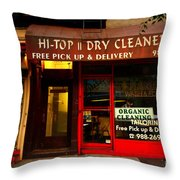 Neighborhood Shop - Dry Cleaners Throw Pillow