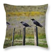 Neighborhood Watch Crows Throw Pillow