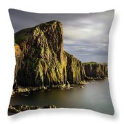 Neist Point Coastline Throw Pillow