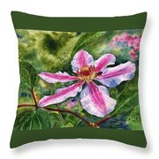 Nelly Moser Clematis Throw Pillow