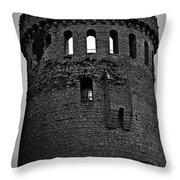Nenagh Castle Tower Bw Throw Pillow