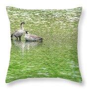 Nene On Green Pond Throw Pillow