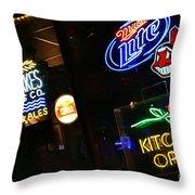 Neon Bar Signs Throw Pillow