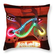 Neon Bicycle Throw Pillow